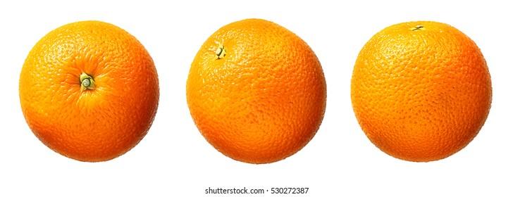 Fresh orange fruit isolated on white background - Shutterstock ID 530272387