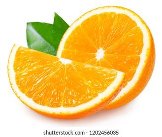 fresh orange fruit with leaf isolated on white background