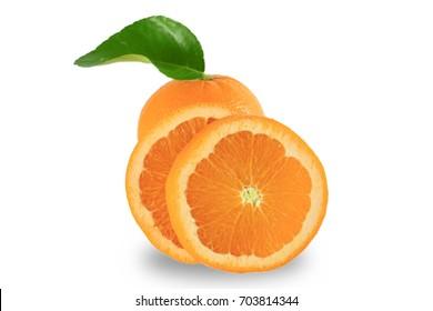 Fresh orange fruit with orange leaf isolated on white background