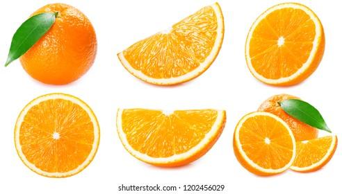 fresh orange fruit with slices and leaf isolated on white background, collection of orange fruit