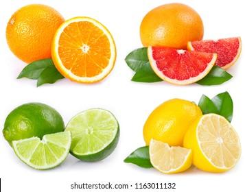 fresh orange, grapefruit, lemon and lime isolated on white background