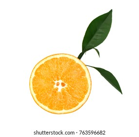 Fresh orange with green leaves isolated on white background. Slice of orange isolated on white background, with clipping path. Top view