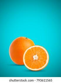fresh orange isolated on aqua blue background