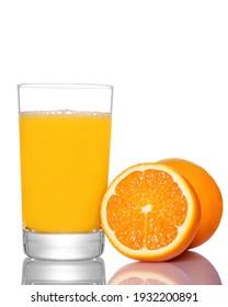 Fresh orange juice with fruit in glass on white background.