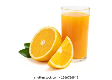 Fresh orange juice with fruits cut in half and sliced with green leaf isolated on white background
