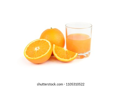 Fresh orange juice with fruits, isolated on white background. Healthy food.