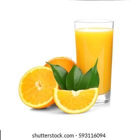 Fresh orange juice with fruits, isolated on white