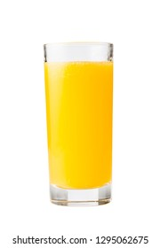Fresh orange juice in a glass, white background