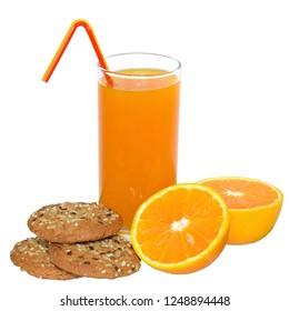 Fresh orange juice and oatmeal cookies isolated on white background.