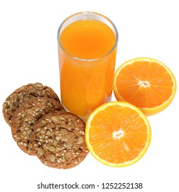 Fresh orange juice and oatmeal cookies top view isolated on white background.