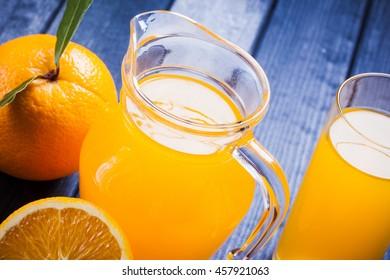 fresh orange juice on the table. close up still life
