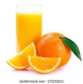 fresh orange with juice on white background
