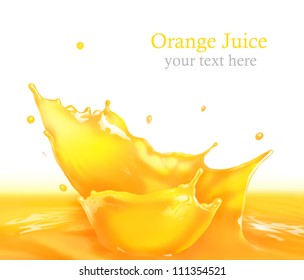 Fresh Orange juice splash making amazing waves and drops, Digital Painting