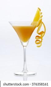 Fresh Orange Juice with orange twisted , cocktail glass set