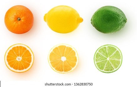 Fresh orange, lemon, lime whole and cut in half slice isolated on white background. Clipping Path. Full depth of field.