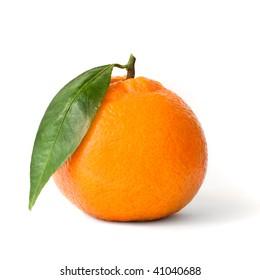Fresh orange mandarin over isolated white background