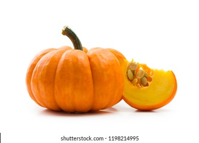 Fresh orange miniature pumpkin isolated on white background
