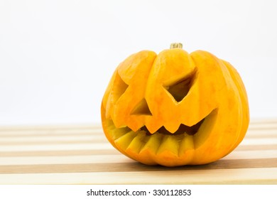 fresh Orange pumpkin  on wood background,Pumpkins used for decoration in Halloween festival.