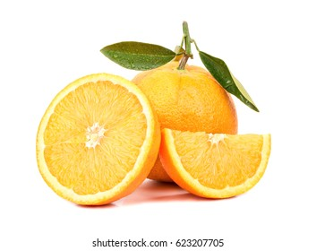 Fresh orange with a slice and a half on a white background