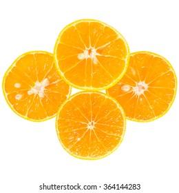 fresh orange slices on white background.( isolate)