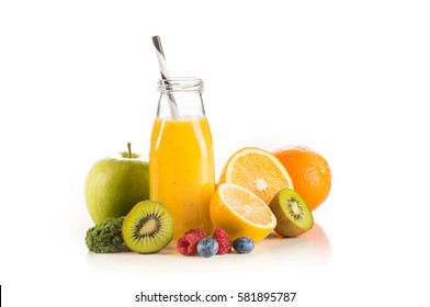 Fresh orange smoothie with fruits and vegetables isolated on white