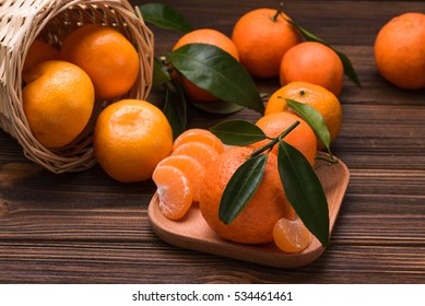 fresh orange tangerine on wood table. fruits background