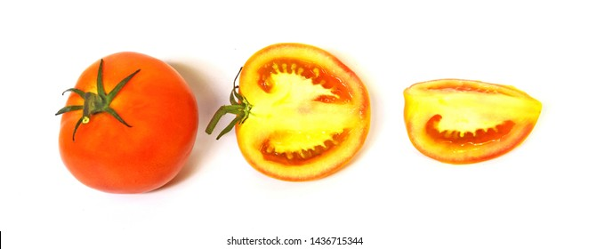 Fresh orange tomatoes, isolated on a white background Concepts, vegetables, kitchen gardens and as a health food. Illustration - lmage