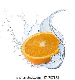 Fresh Orange With Water Splash
