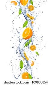 Fresh oranges falling in water splash, isolated on white background