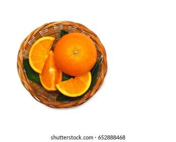 Fresh oranges in fruits basket on white background,  Navel orange, oranges concept