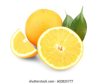 Fresh oranges, isolated on white