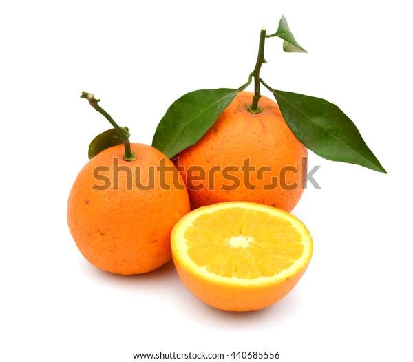 fresh oranges isolated on white