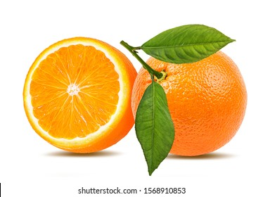 Fresh oranges with leaves isolated on white background with clipping path