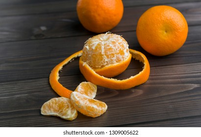 Fresh  oranges on rustic wooden table