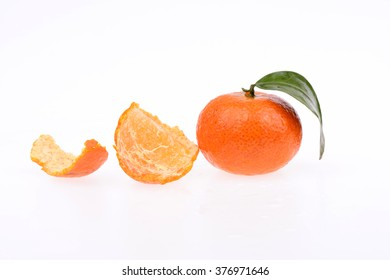 Fresh oranges on a white background