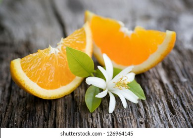 Fresh oranges and orange blossom