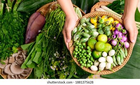 Fresh organic Asian vegetables from local farmer market, Northern Thailand