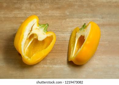 Fresh organic bell pepper,sweet pepper on wooden background. Top view