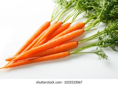 Fresh Organic Carrots on White Surface