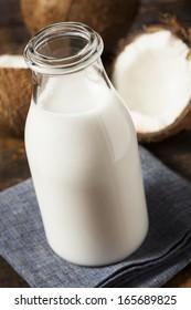 Fresh Organic Coconut Milk in a Bottle
