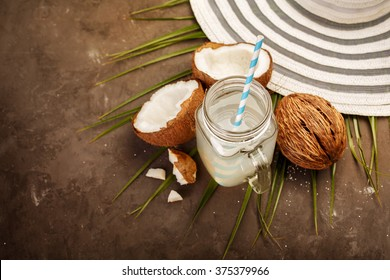 Fresh Organic Coconut Water in a Glass. Food background, selective focus