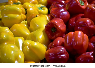 Fresh organic colorful bell peppers in early morning at Queen Victoria Market, Melbourne, Australia