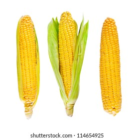 Fresh organic corn on white background