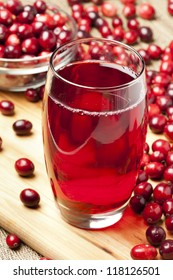 Fresh Organic Cranberry Juice against a background