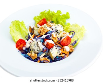 fresh organic eco vegetable green salad, close-up isolated on white and black background