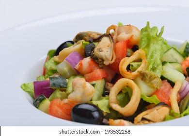 fresh organic eco vegetable salad,close-up isolated on white