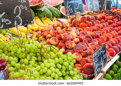 Fresh organic fruit at farmers market stall