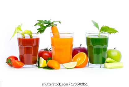 Fresh, organic fruit and vegetable juices