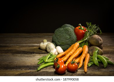 Fresh Organic Fruit and Vegetables with copy space