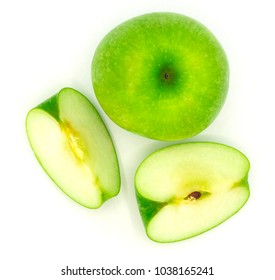 fresh organic green apple slice isolated on a white background,buy from supermarket, good for healty, diet.